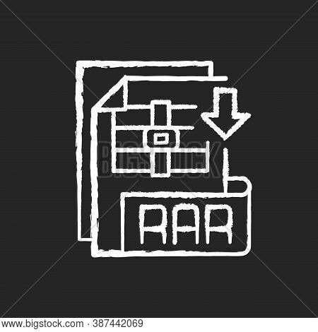 Rar File Chalk White Icon On Black Background. Archive File Format. Data Compression. Error Recovery
