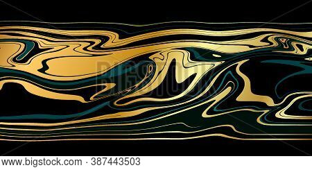 Luxury Black Gold Marble Texture Background Vector. Marbling Texture Design For Banner, Invitation,