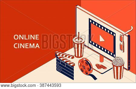 Online Cinema Isometric Concept With Computer Monitor, Popcorn, Drink, Clapperboard, 3d Glasses And