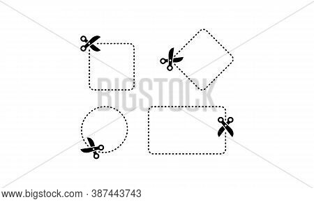 Scissors Cut Along The Contour Icon Set In Black. Vector On Isolated White Background. Eps 10