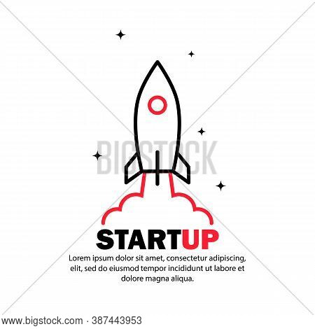 Start Up Icon. Rocket Launch And Smoke. Startup Project Concept. Vector On Isolated White Background