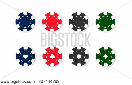 Casino Chips Icon Set. Poker. Blue, Red, Black And Green Chips. Vector On Isolated White Background.