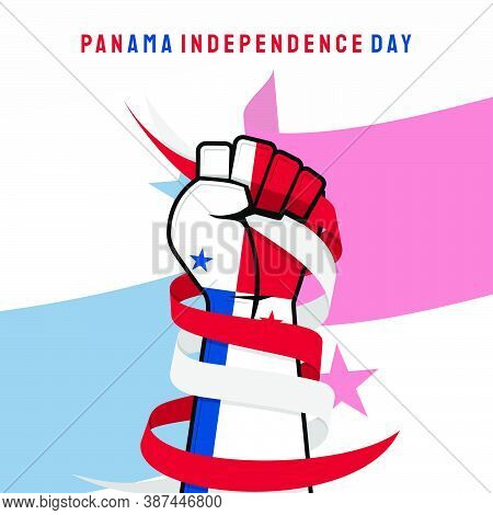 Panama Independence Day Design With Fist Hand That Colored With Panama Flag.
