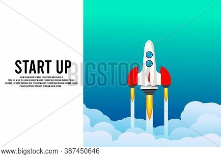 Rocket Launch In The Sky, Cloud, Smoke Clouds, Space. Space Ship. Interstellar Travels. Business Con