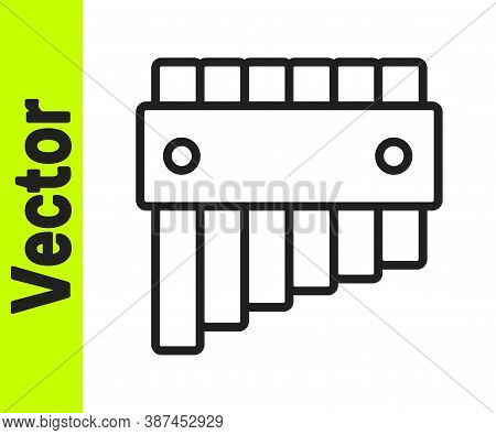 Black Line Pan Flute Icon Isolated On White Background. Traditional Peruvian Musical Instrument. Fol