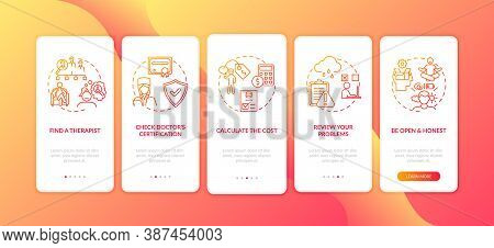 Psychotherapy Treatment Process Onboarding Mobile App Page Screen With Concepts. Therapist Looking W