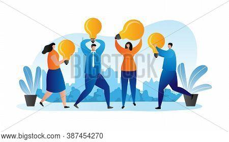 Business Idea, Businessmen With Light Bulbs Flat Design Vector Illustration Concept. Success, Creati