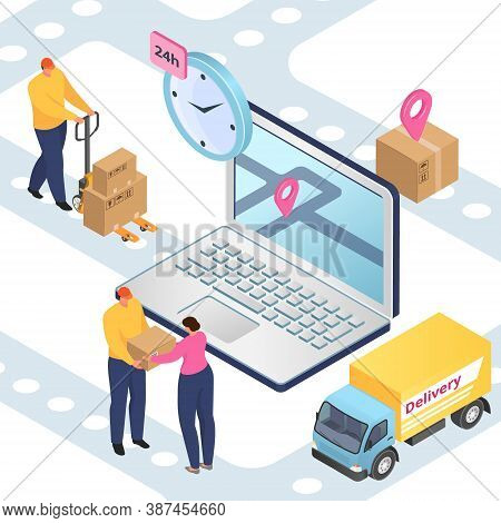 Delivery And Logistics, Freight Transportation, Packages Shipment Isometric Vector Illustration. 3d