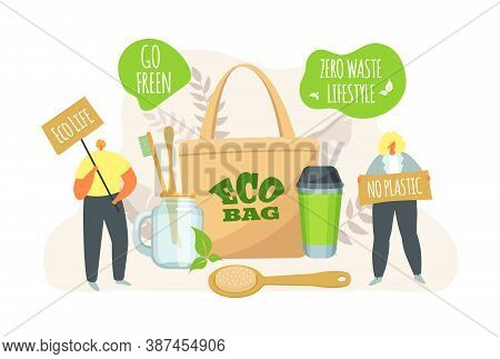 Eco Life, People With Ecological Bag, Zero Waste Lifestyle Concept Vector Illustration. Ecology Obje