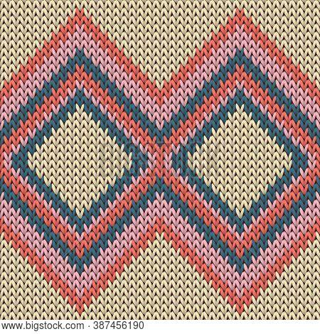 Handicraft Rhombus Argyle Knitted Texture Geometric Seamless Pattern. Carpet Knit Effect Ornament. N