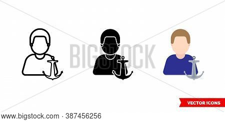 Sailor Seafarer Seaman Icon Of 3 Types Color, Black And White, Outline. Isolated Vector Sign Symbol.