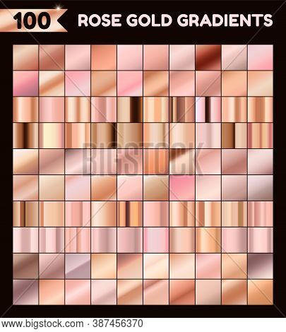 Collection Of Rose Gold Gradients For Design. Vector Rose Foil Texture Set.