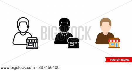 Seller Vendor Icon Of 3 Types Color, Black And White, Outline. Isolated Vector Sign Symbol.