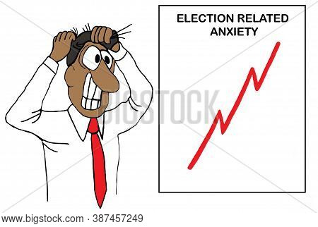 Color Cartoon Showing An African-american Man Pulling His Hair Out Due To Election Anxiety, The Char