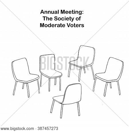 Cartoon Showing Empty Chairs At The Annual Meeting Of The Society Of Moderate Voters.