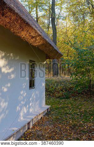 Old Traditional Ukrainian House In The Taras Shevchenko National Reserve In Kanev, Ukraine. Historic