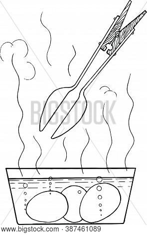 Eggs Get From The Boiling Water. Schematic Drawing