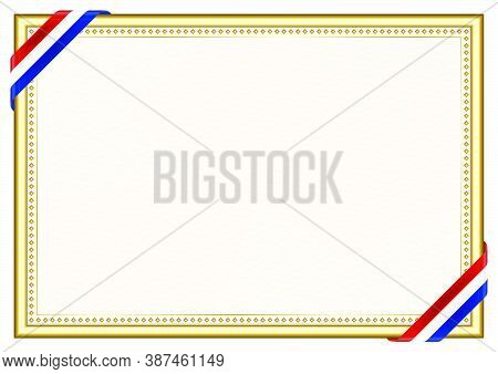 Horizontal  Frame And Border With Paraguay Flag, Template Elements For Your Certificate And Diploma.