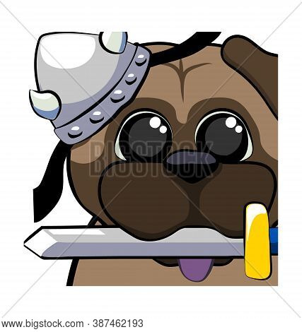 Cute Pug Dog With Viking Helmet And Sword In Mouth - Raid Emote - Vector Emoticon Isolated