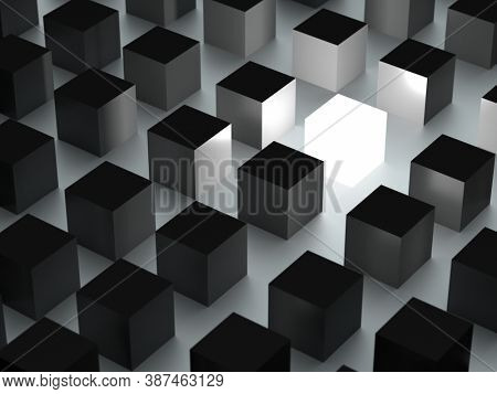 Individuality concept, one shining cube among grey cubes. 3D rendering
