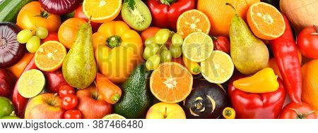 Big collection multi-colored juicy vegetables and fruits. Top view.