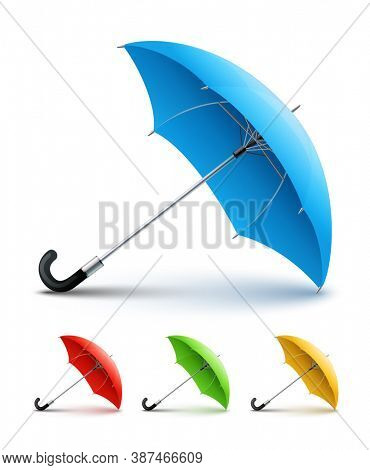 Red umbrella. Isolated on white background. 3D illustration.