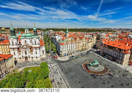 View of Stare Mesto Square (Old City Square) and St. Nicholas Church from Town Hall. Prague, Czech Republic