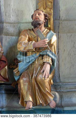 KRAPINA, CROATIA - JULY 01, 2013: Saint Matthew statue at the pulpit in Church of Our Lady of Jerusalem at Trski Vrh in Krapina, Croatia