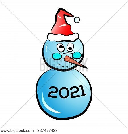 Snowman With Caption - 2021 On It's Body