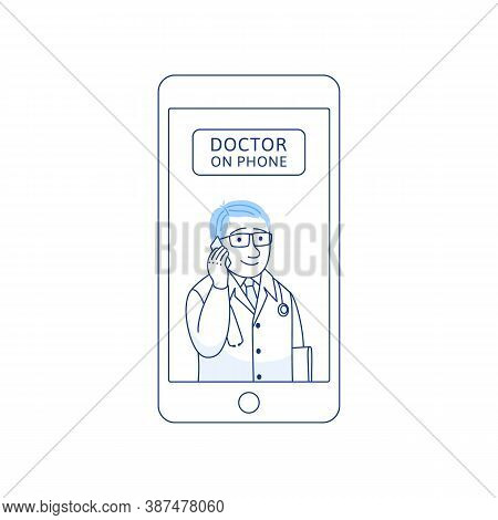 Doctor On Phone Thin Line Icon Isolated On White Background. Male Therapist With Cell Phone. Smartph
