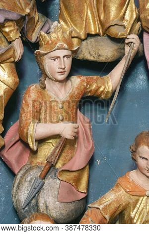 KRAPINA, CROATIA - JULY 01, 2013: Saint George statue on the altar of Fourteen holy helpers in Church of Our Lady of Jerusalem at Trski Vrh in Krapina, Croatia