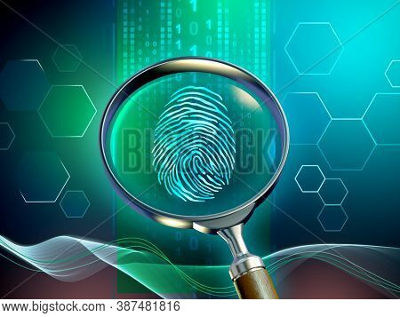 Magnifying glass revealing a fingerprint in a data stream. 3D illustration.