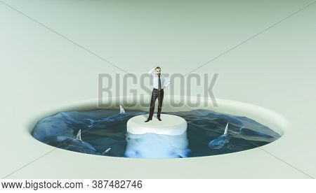 Businessman surrounded by water and sharks. concept of problems and risks at work.