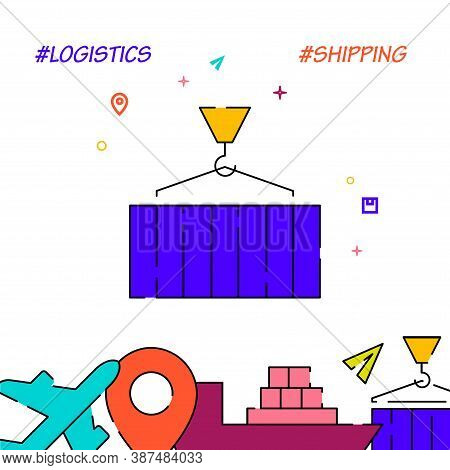 Port Loading And Unloading Filled Line Vector Icon, Simple Illustration, Cargo And Shipping Related