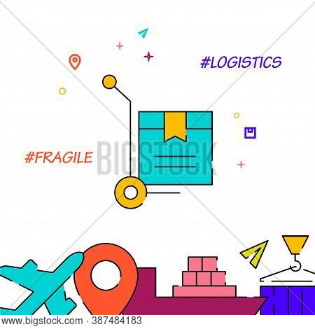 Fragile Delivery Filled Line Vector Icon, Simple Illustration, Cargo And Shipping Related Bottom Bor