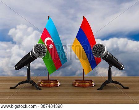 Relationship between Armenia and Azerbaijan. 3D illustration