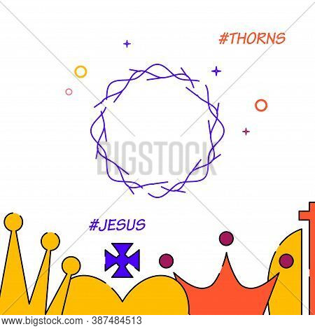 Crown Of Thorns Filled Line Vector Icon, Simple Illustration, Royal Crown Related Bottom Border.