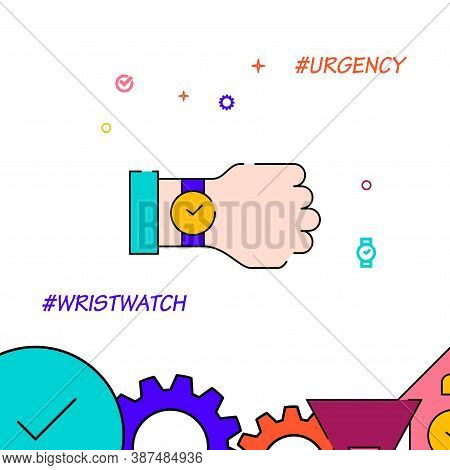 Wristwatch, Urgency Filled Line Vector Icon, Simple Illustration, Clock, Time Related Bottom Border.