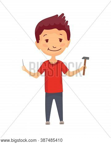 Kid Builder. Little Worker. Children With Hammer And Nail, Making Job. Funny Kid Ready For Repair Wo