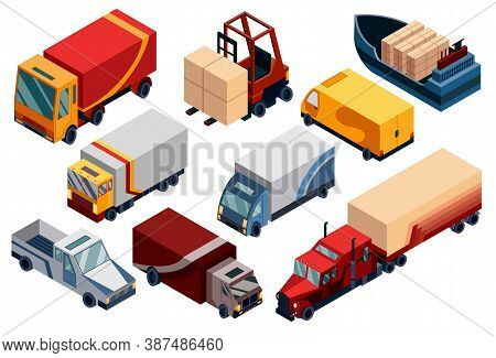 Isometric Logistics. Transportation Isometric Elements Set With Loaded And Empty Trucks Trailers Box