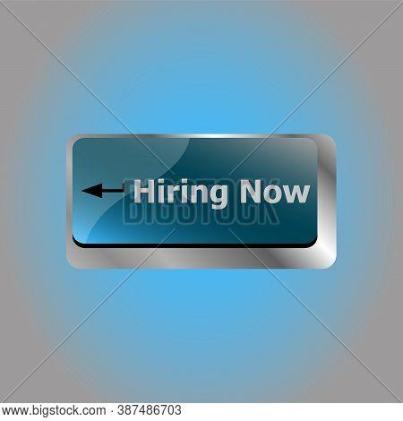 Hiring Now Job Concept. Computer Keyboard Key