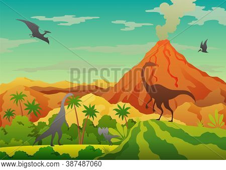 Prehistoric Landscape - Volcano With Smoke, Mountains, Dinosaurs And Green Vegetation. Vector Illust