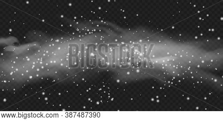 Realistic Snowfall Cloud Effect. White Snow Cloud With Blizzard On Transparent Dark Background. Smog