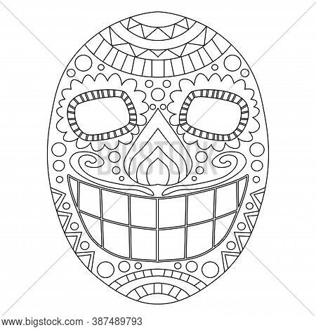 Day Of The Dead Skull Vector Coloring Page For Kids And Adults. Traditional Dia De Muertos Calavera