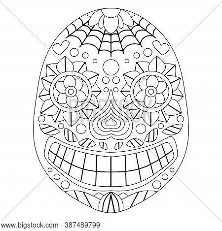 Dia De Muertos Calavera Coloring Page For Kids And Adults Stock Vector Illustration. Smiling Decorat