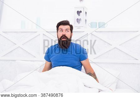 Amazed Bearded Man Hipster Surprised About Morning Erection, Mens Health Concept.