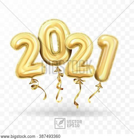 3d Realistic Isolated Vector With Gold Gel Balls As Numbers Two Thousand And Twenty One, 2021, New Y
