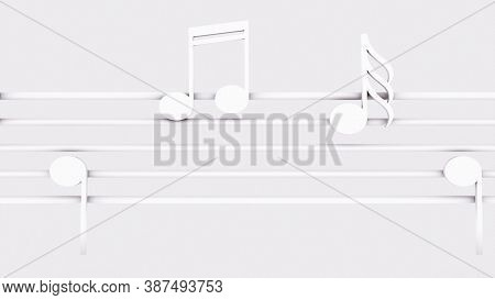 Musical Notes On Music Line, Computer Generated. 3d Render Classic Background With Ticker
