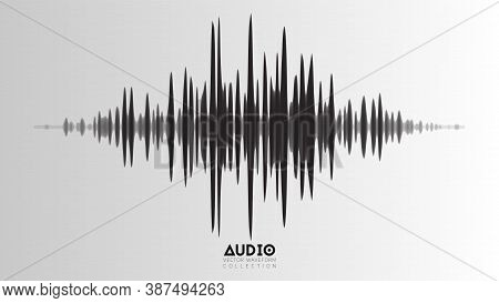 Vector Echo Audio Wavefrom. Abstract Music Waves Oscillation. Futuristic Sound Wave Visualization. S