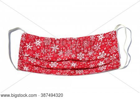 Coronavirus Face Mask. Cloth Covid-19 Face mask.  Isolated on white. Room for text. Christmas Design Face Mask. Stay Safe and do not catch the Coronavirus.